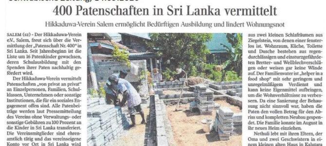 400 Patenschaften in Sri Lanka vermittelt