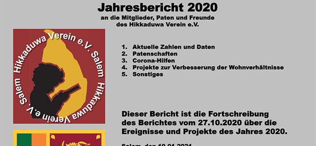 Fortschreibung Jahresbericht 2020 von Hikkaduwa-Verein e.V.